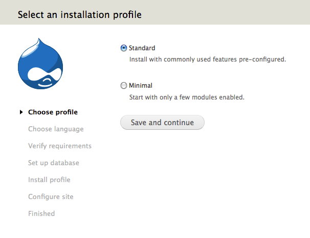 Drupal 7: Select an installation profile