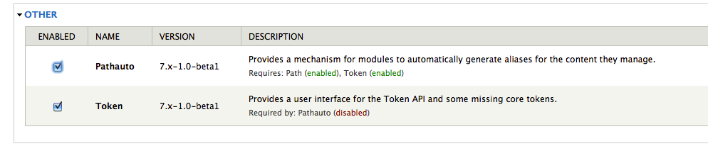 Enable Pathauto module